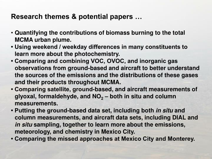 Research themes & potential papers …