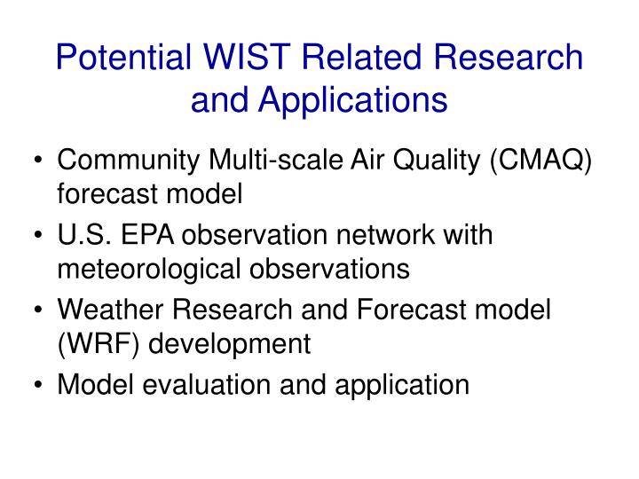 Potential wist related research and applications
