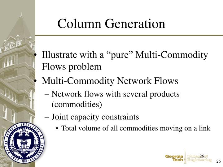 "Illustrate with a ""pure"" Multi-Commodity Flows problem"