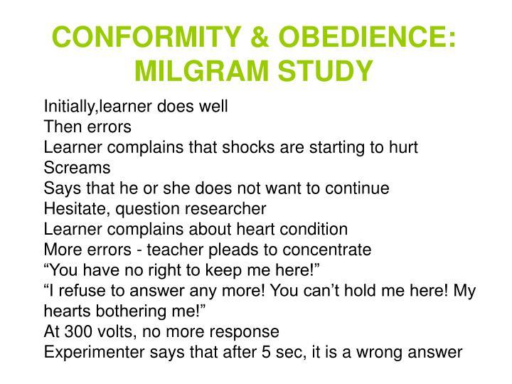 CONFORMITY & OBEDIENCE: