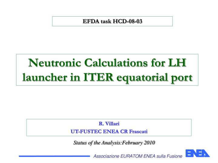 Neutronic calculations for lh launcher in iter equatorial port