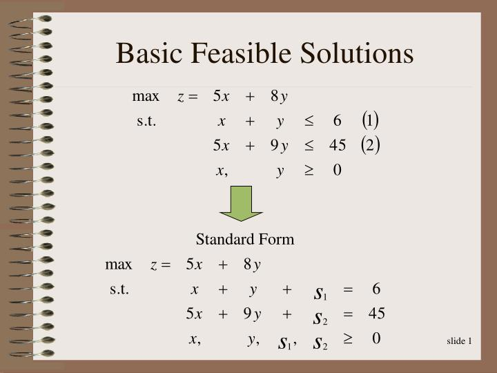Basic feasible solutions