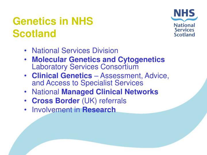 Genetics in nhs scotland