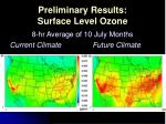preliminary results surface level ozone