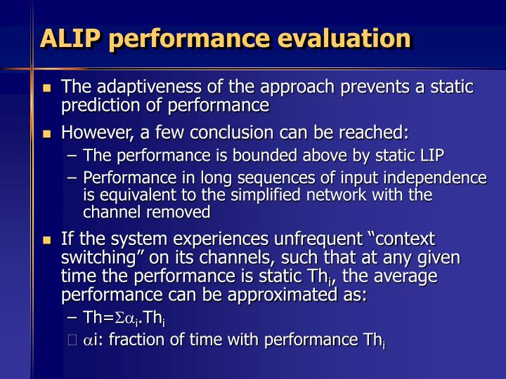 ALIP performance evaluation