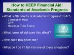 how to keep financial aid standards of academic progress