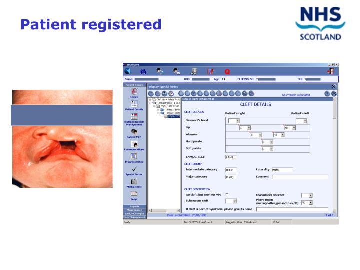 Patient registered