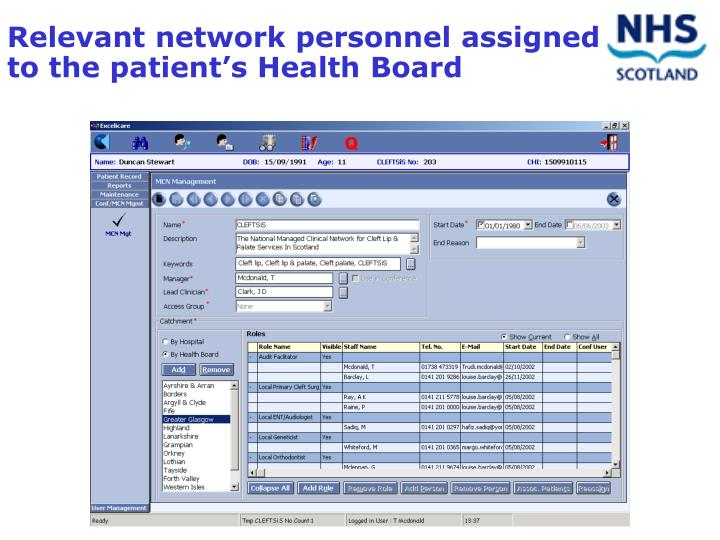 Relevant network personnel assigned to the patient's Health Board