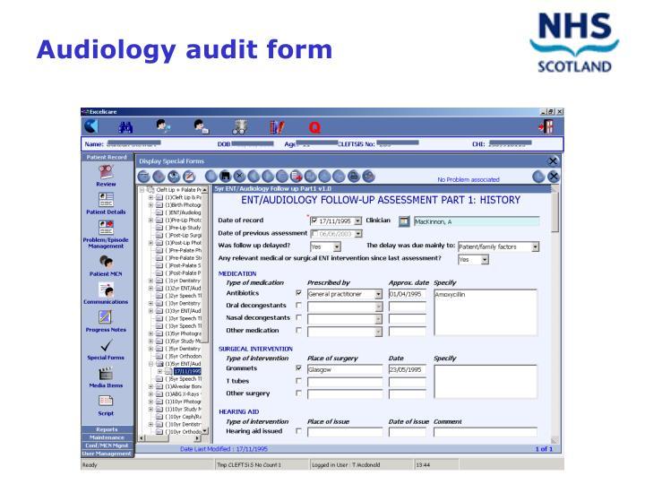 Audiology audit form
