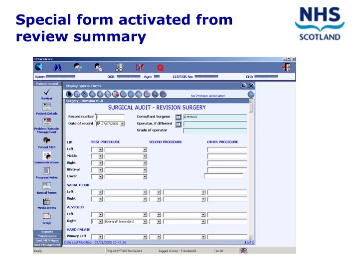 Special form activated from review summary