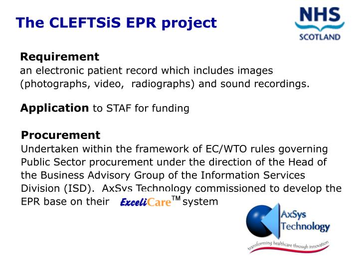 The CLEFTSiS EPR project