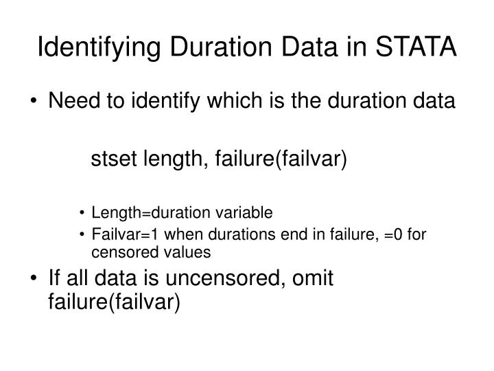 Identifying Duration Data in STATA
