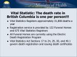 vital statistic the death rate in british columbia is one per person