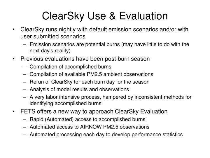 Clearsky use evaluation