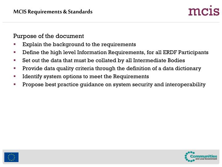 MCIS Requirements & Standards
