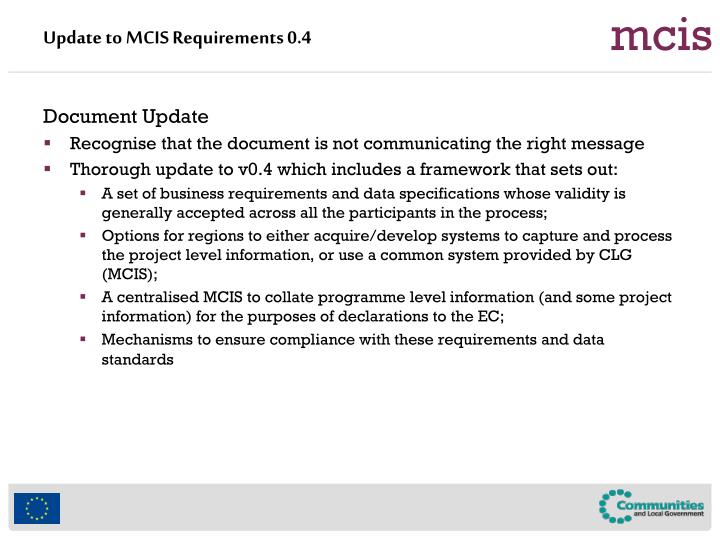 Update to MCIS Requirements 0.4