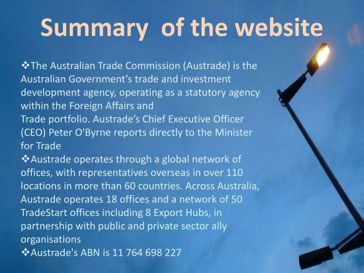 Summary  of the website