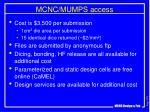 mcnc mumps access