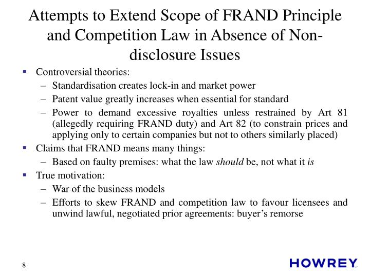 Attempts to Extend Scope of FRAND Principle and Competition Law in Absence of Non-disclosure Issues