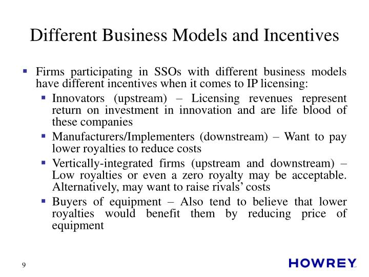 Different Business Models and Incentives
