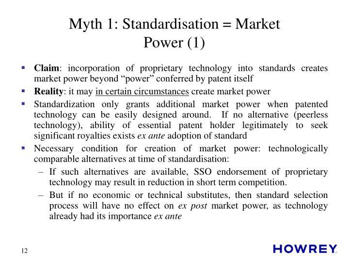 Myth 1: Standardisation = Market