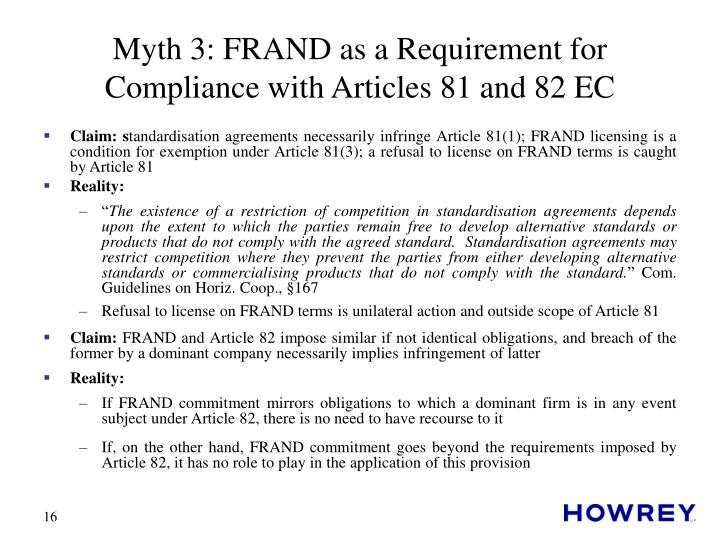Myth 3: FRAND as a Requirement for Compliance with Articles 81 and 82 EC