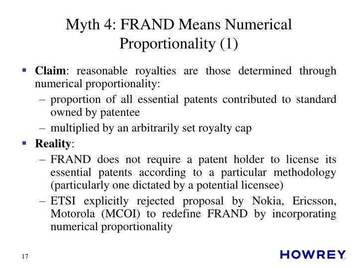 Myth 4: FRAND Means Numerical Proportionality (1)