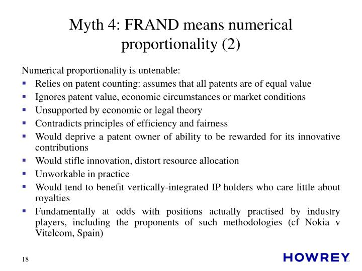 Myth 4: FRAND means numerical proportionality (2)