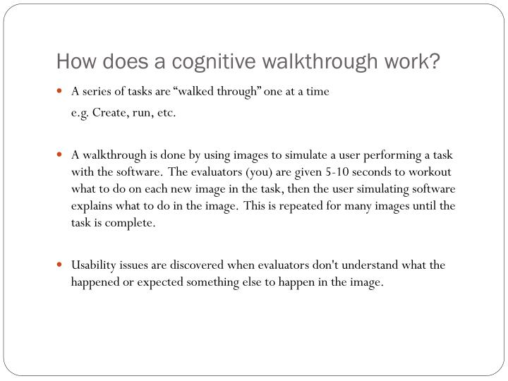 How does a cognitive walkthrough work?