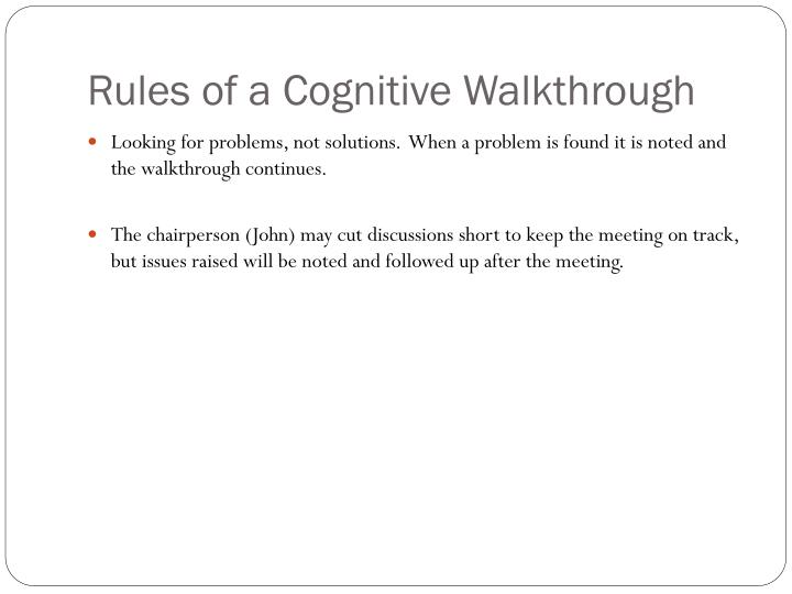 Rules of a Cognitive Walkthrough