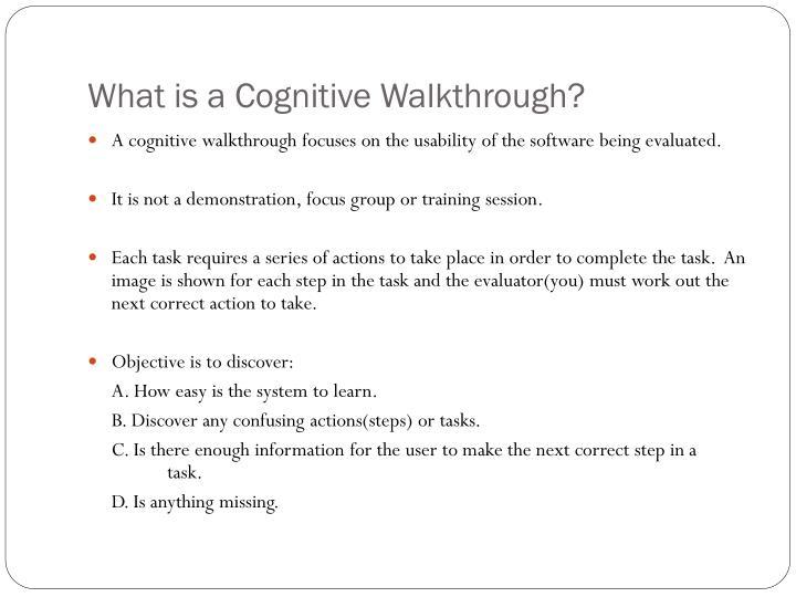 What is a cognitive walkthrough