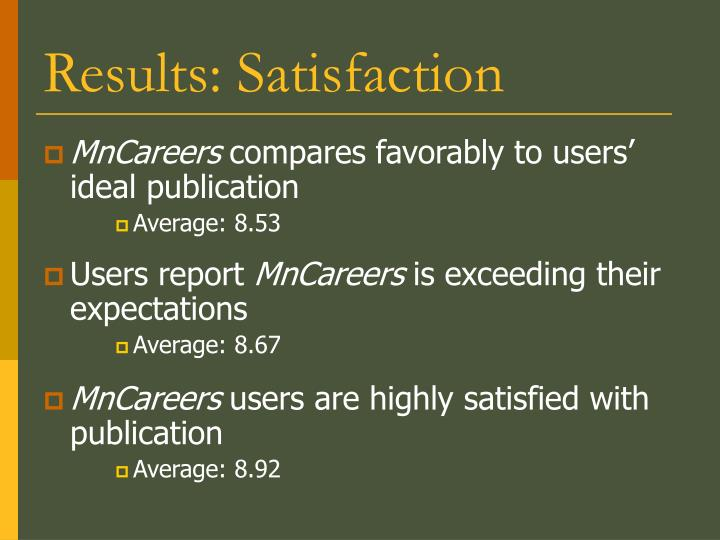 Results: Satisfaction