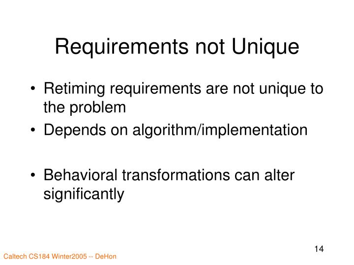 Requirements not Unique