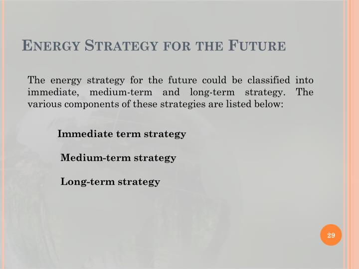 Energy Strategy for the Future