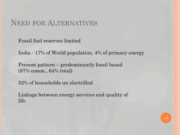 Need for Alternatives