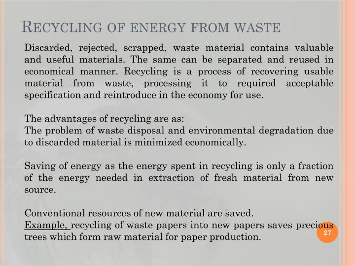 Recycling of energy from waste