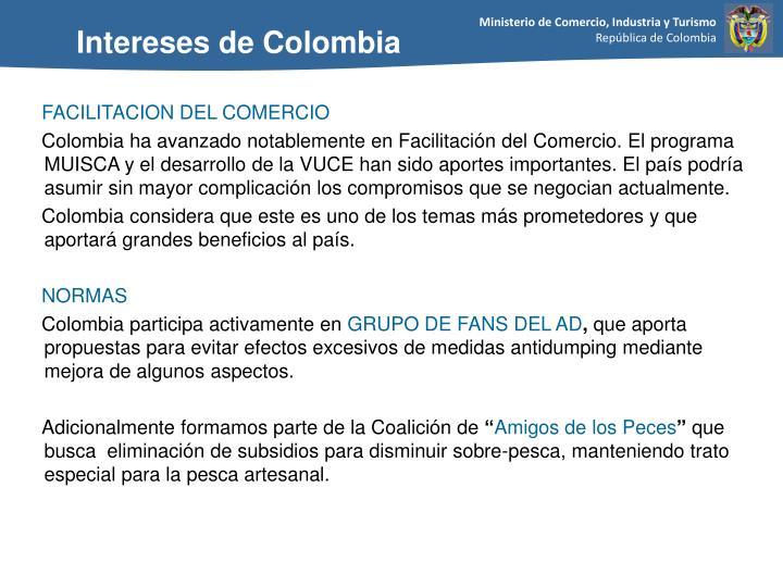 Intereses de Colombia