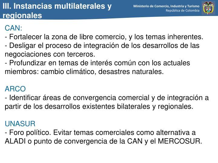 III. Instancias multilaterales y regionales