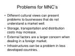 problems for mnc s