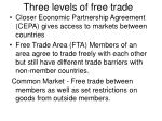three levels of free trade