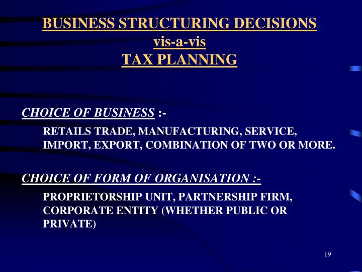 BUSINESS STRUCTURING DECISIONS