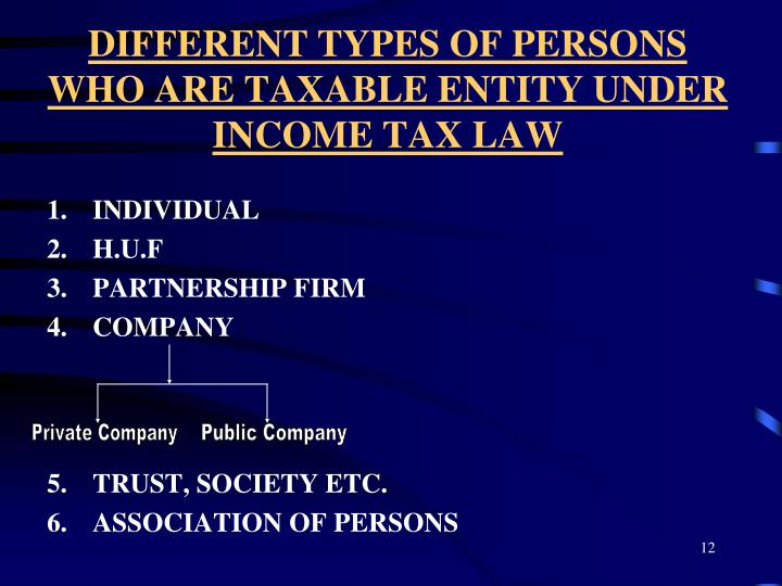 DIFFERENT TYPES OF PERSONS WHO ARE TAXABLE ENTITY UNDER INCOME TAX LAW