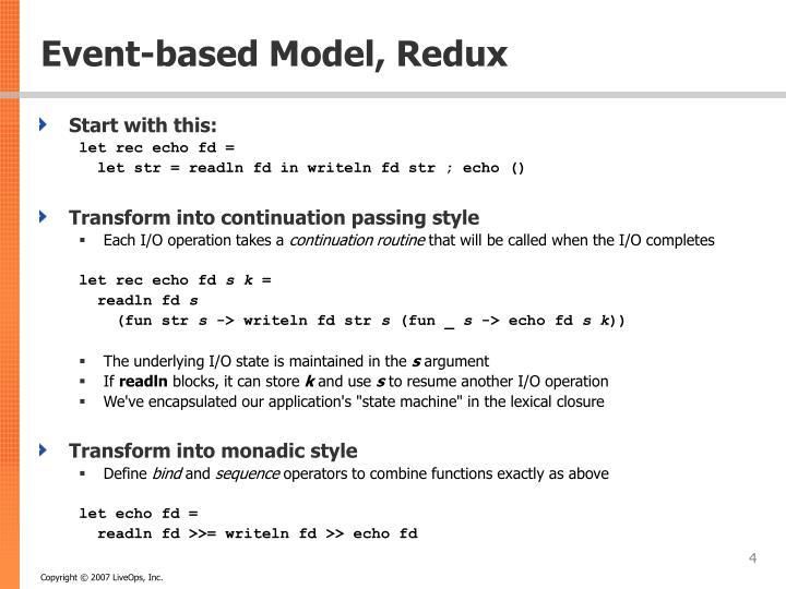 Event-based Model, Redux