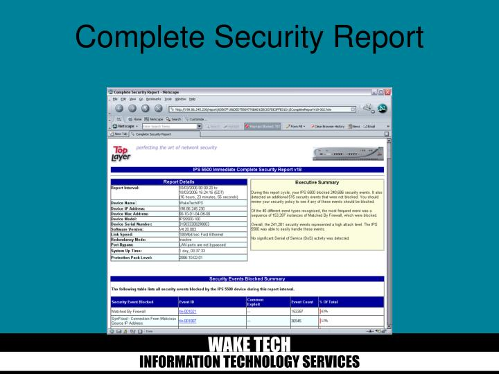Complete Security Report
