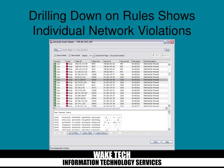 Drilling Down on Rules Shows Individual Network Violations