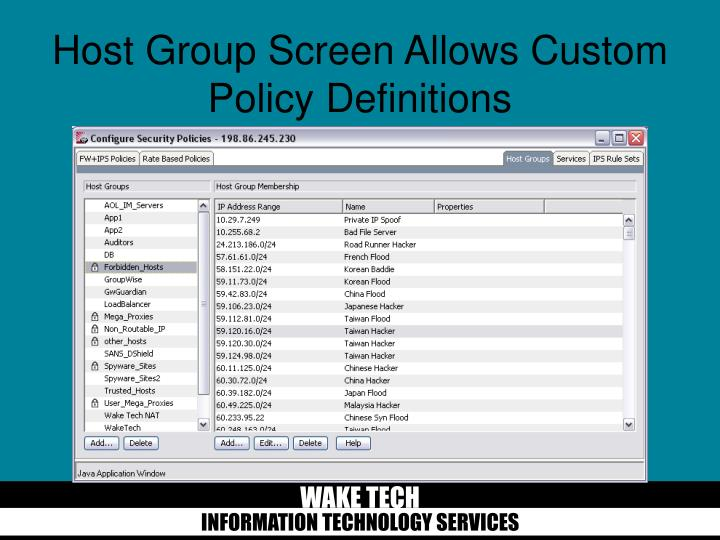 Host Group Screen Allows Custom Policy Definitions