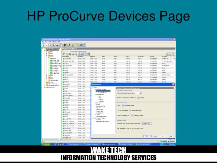 HP ProCurve Devices Page