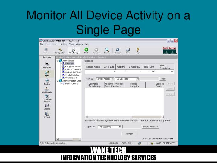 Monitor All Device Activity on a Single Page