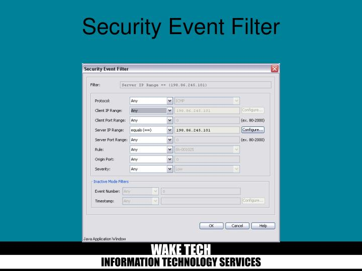 Security Event Filter