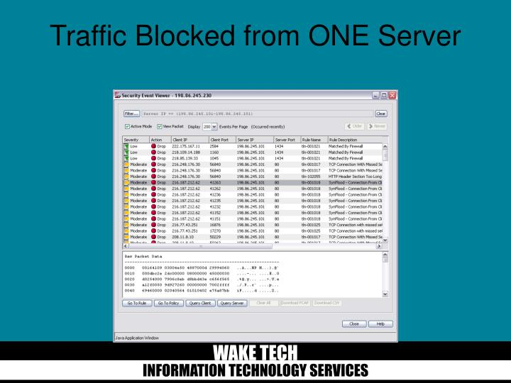 Traffic Blocked from ONE Server